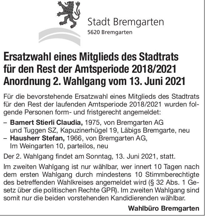 Ersatzwahl Mitglied Stadtrat Bremgarten