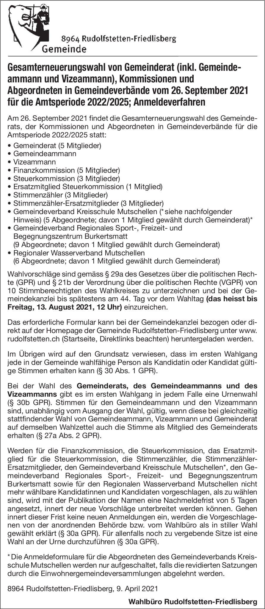 Gemeinde Rudolfstetten - Gesamterneuerungswahlen
