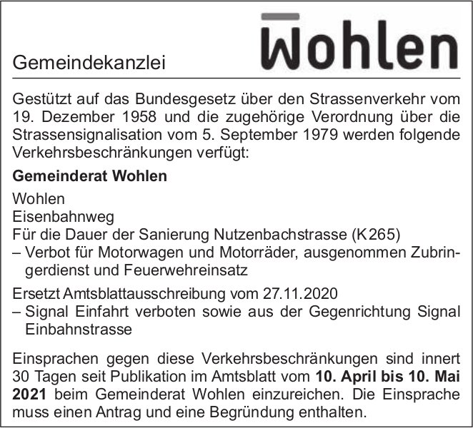Gemeinde Wohlen - Verkehrsbeschränkungen