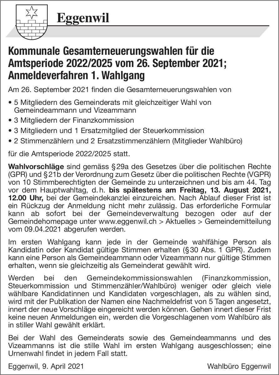 Gemeinde Eggenwil - Kommunale Gesamterneuerungswahlen