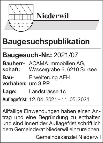 Baugesuchspublikation - Gemeinde Niederwil