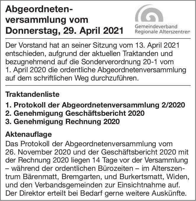 Abgeordnetenversammlung vom Donnerstag, 29. April 2021 - Gemeindeverband Regionale Alterszentren
