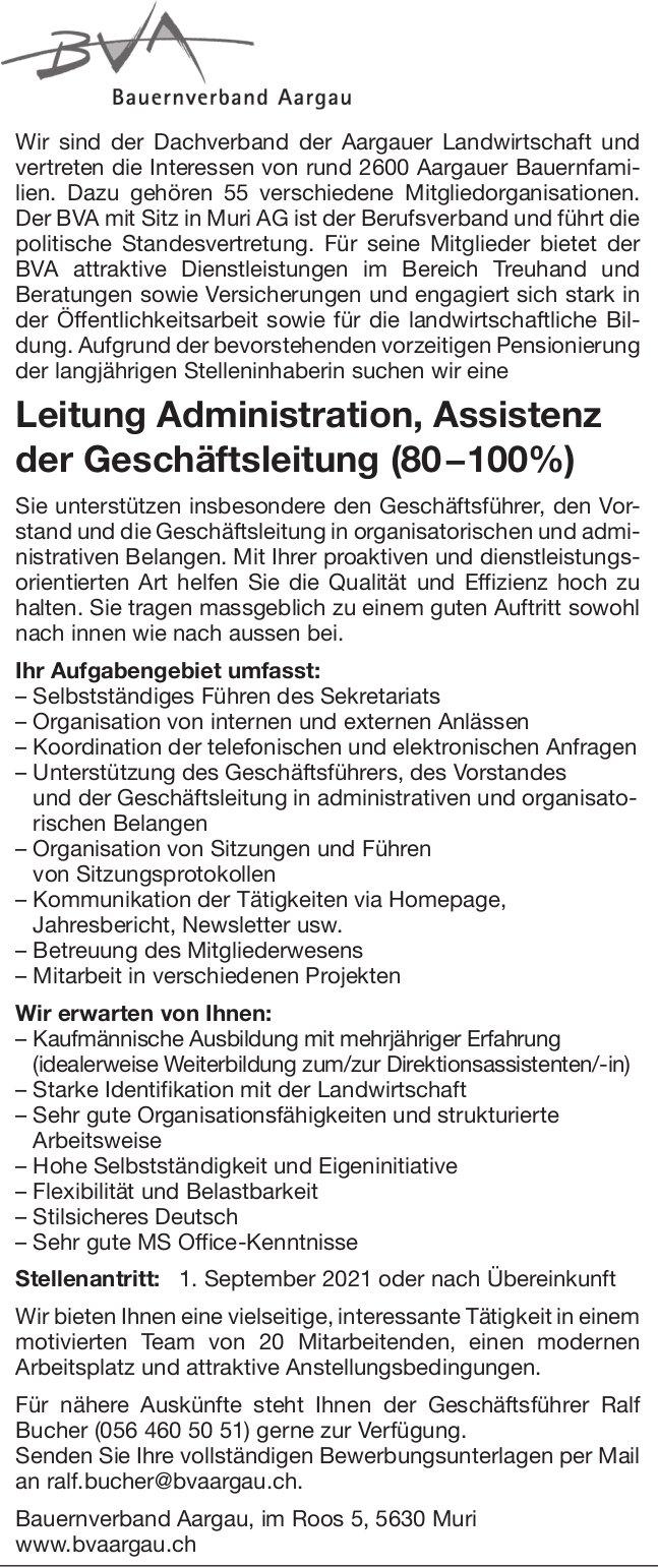 Leitung Administration, Assistenz der Geschäftsleitung (80−100%), Bvaargau, gesucht