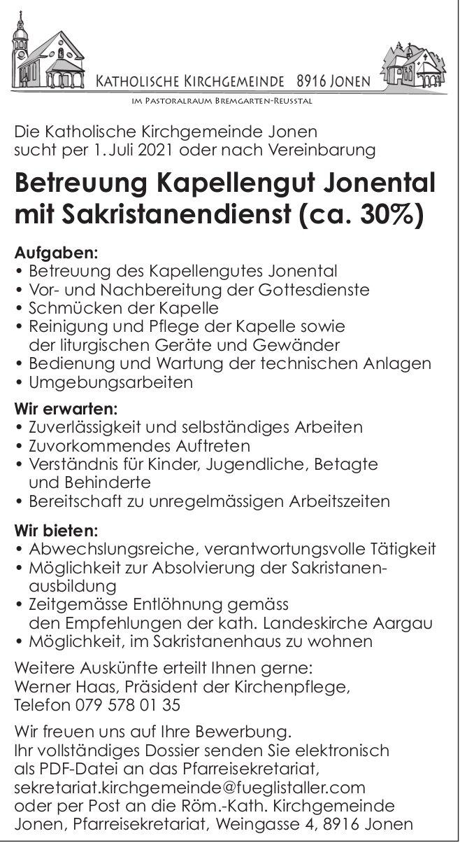 Betreuung Kapellengut Jonental mit Sakristanendienst (ca. 30%), Kath. KG Jonen, gesucht
