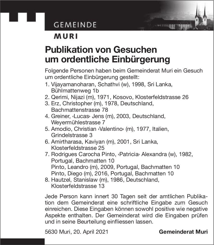 Gemeinde Muri - Publikation von Gesuchen um ordentliche Einbürgerung
