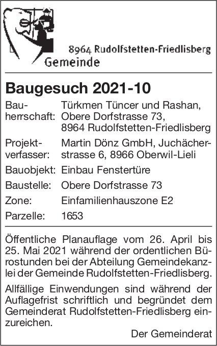 Gemeinde Rudolfstetten-Friedlisberg - Baugesuch