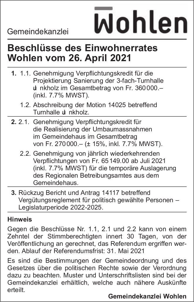 Gemeinde Wohlen - Beschlüsse des Einwohnerrates Wohlen vom 26. April 2021