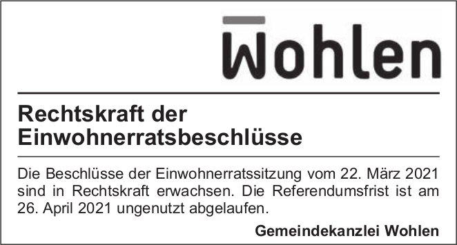 Gemeinde Wohlen - Rechtskraft der Einwohnerratsbeschlüsse