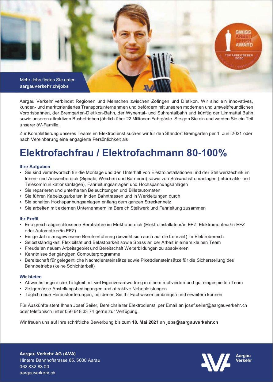 Elektrofachfrau / Elektrofachmann 80-100%, Aargau Verkehr AG, Aarau, gesucht