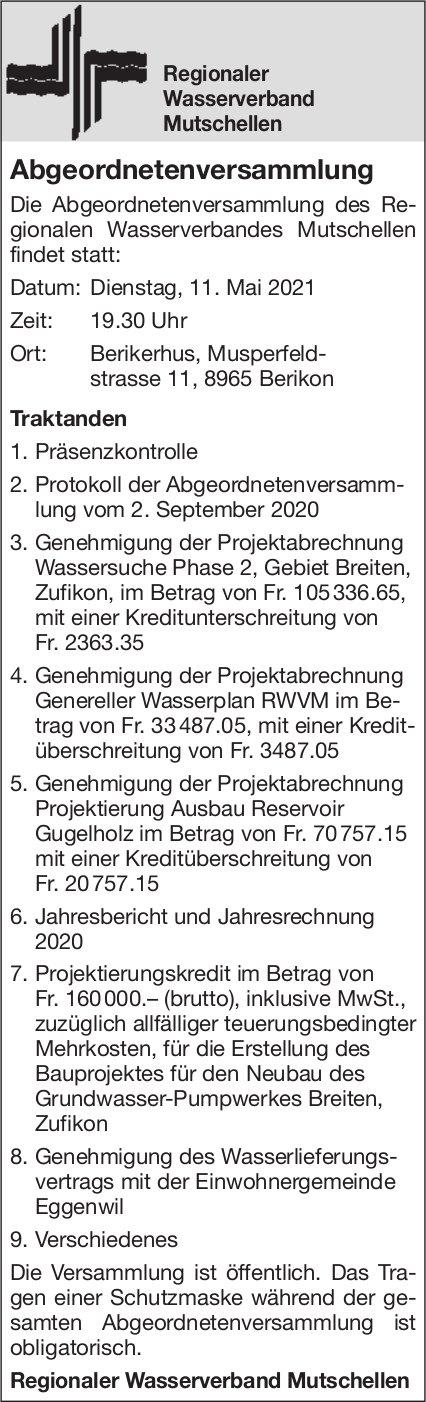 Regionaler Wasserverband Mutschellen  - Abgeordnetenversammlung