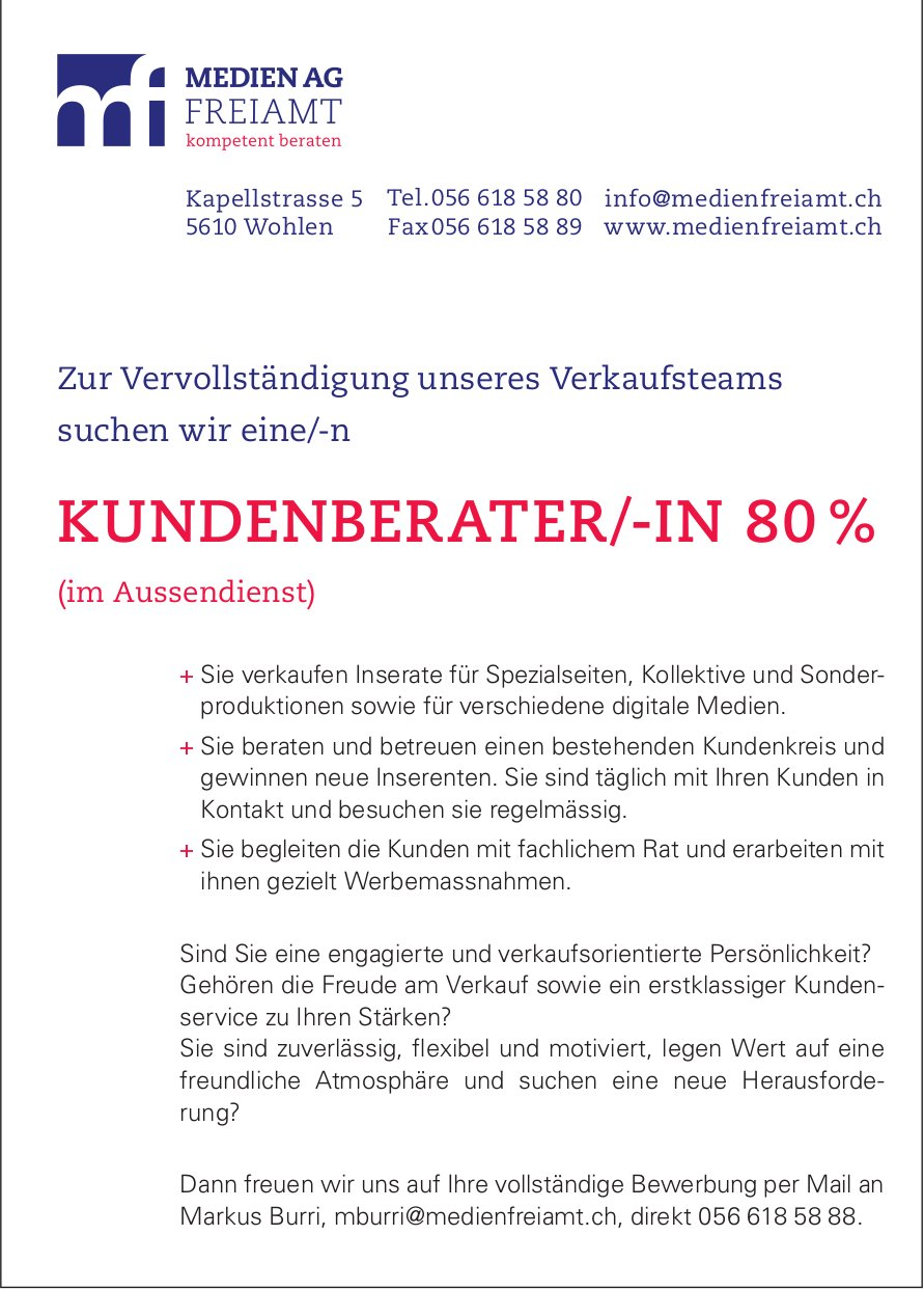 Kundenberater/-in gesucht - Medien AG Freiamt