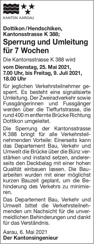 Aarau - Kanton Aargau, Sperrung und Umleitung für 7 Wochen