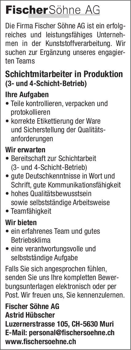 Schichtmitarbeiter in Produktion, Firma Fischer Söhne AG, Muri, gesucht