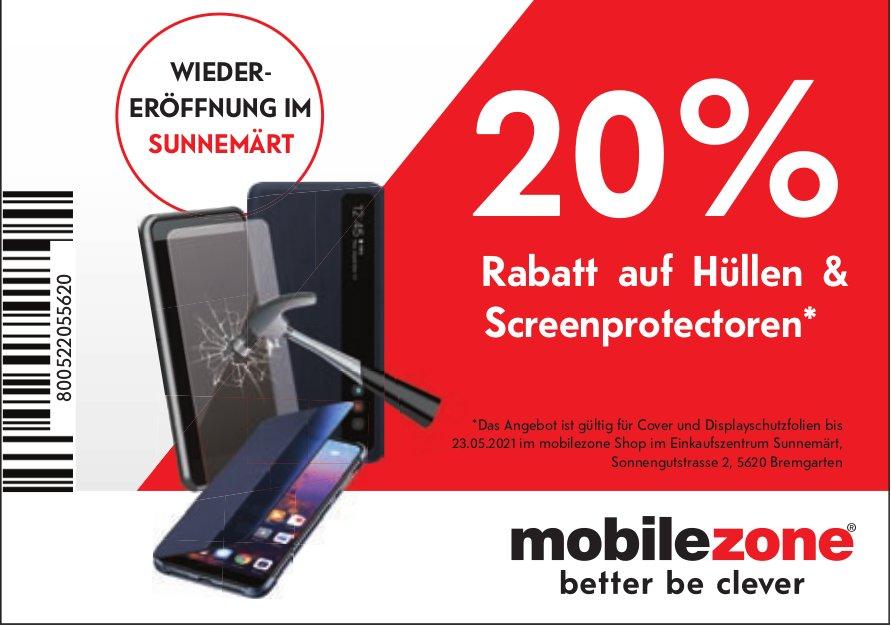 20 % Rabatt auf Hüllenprotectoren - Mobile Zone