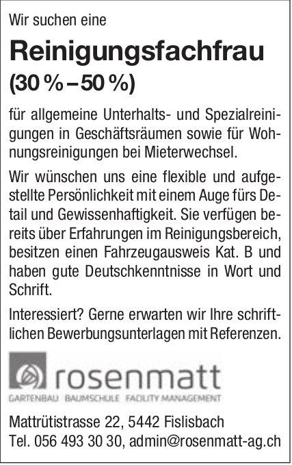 Reinigungsfachfrau (30%–50 %), Rosenmatt Gartenbau, Fislisbach, gesucht