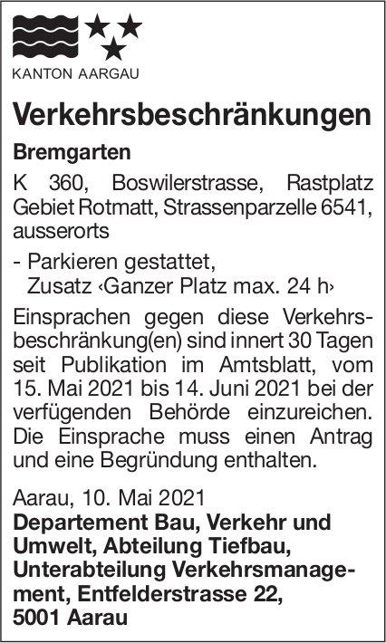 Verkehrsbeschränkungen Bremgartne