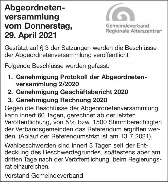Beschlüsse Abgeordnetenversammlung 29. April 2021 - Gemeindeverband Regionale Alterszentren