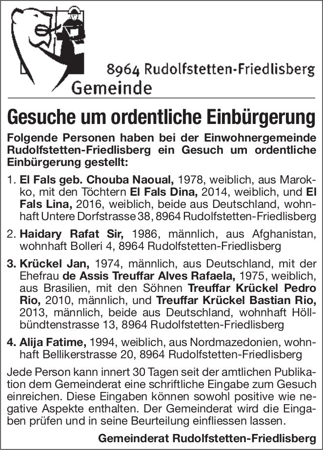 Gemeinde Rudolfstetten-Friedlisberg, Gesuche um ordentliche Einbürgerung