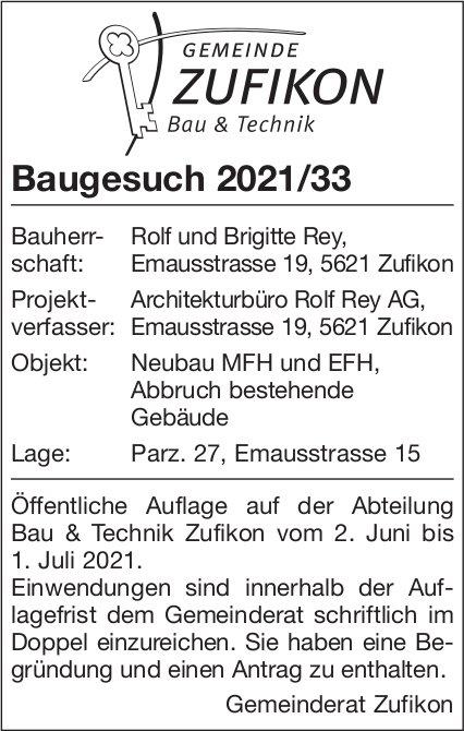 Baugesuche, Zufikon - Baugesuch 2021/33
