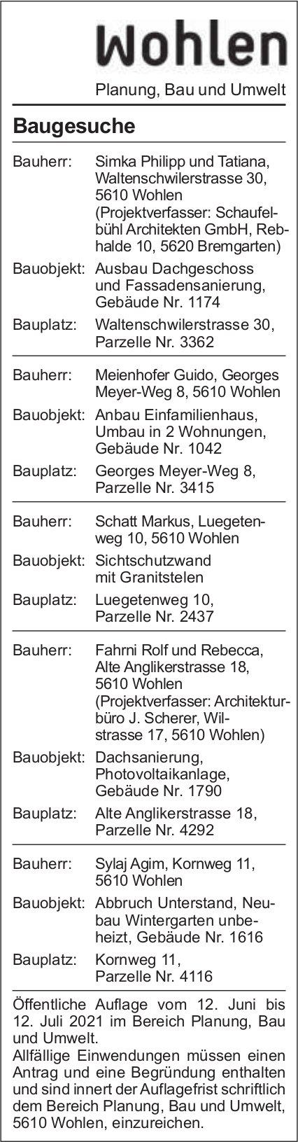 Baugesuche, Wohlen - bühl Architekten GmbH, Baugesuche