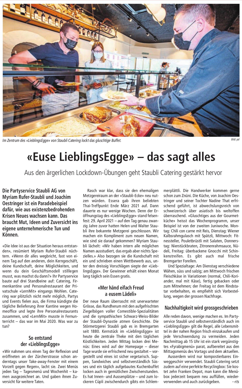 Partyservice Staubli AG, Bremgarten - «Euse LieblingsEgge» – das sagt alles