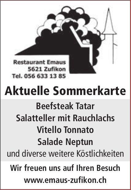Restaurant Emaus, Zufikon - Aktuelle Sommerkarte