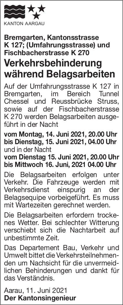 Bremgarten - Verkehrsbehinderung während Belagsarbeiten