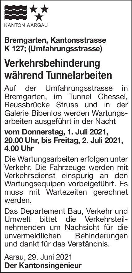 Bremgarten - Verkehrsbehinderung während Tunnelarbeiten, 1./2. Juli