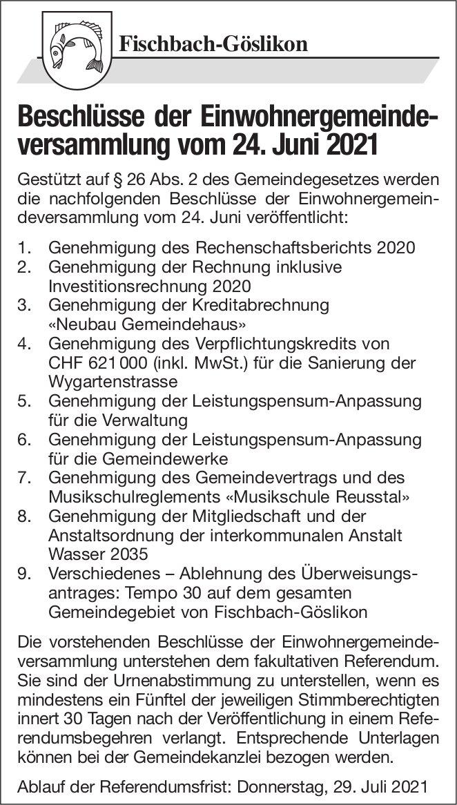 Fischbach-Göslikon - Beschlüsse der Einwohnergemeindeversammlung vom 24. Juni