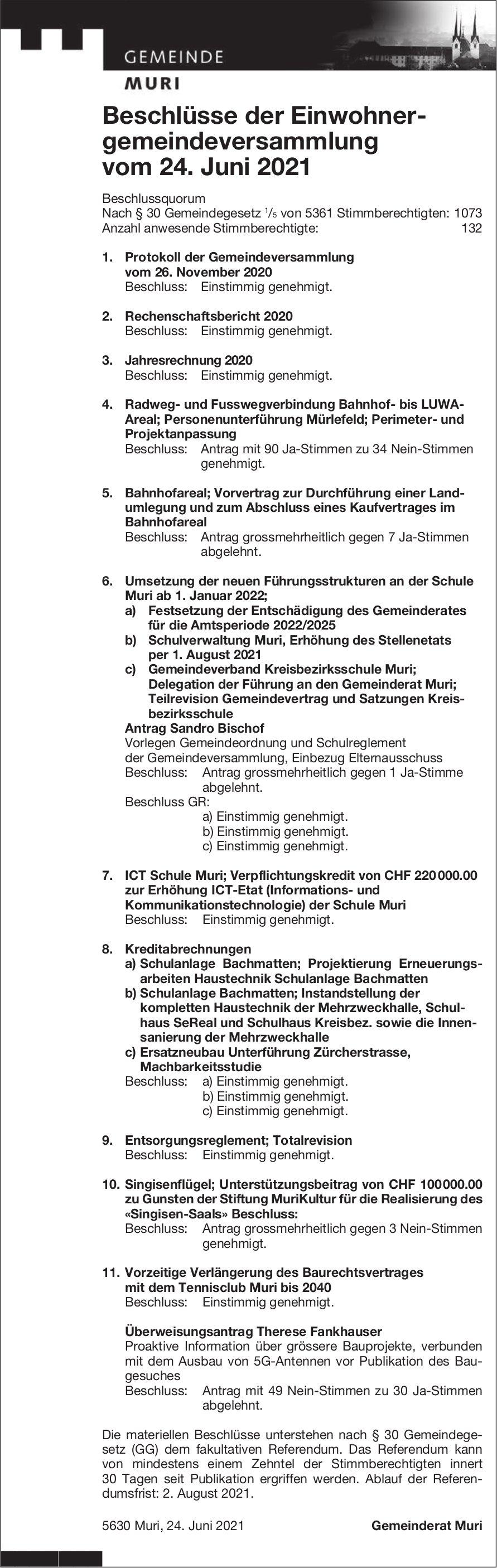 Muri - Beschlüsse der Einwohnergemeindeversammlung vom 24. Juni