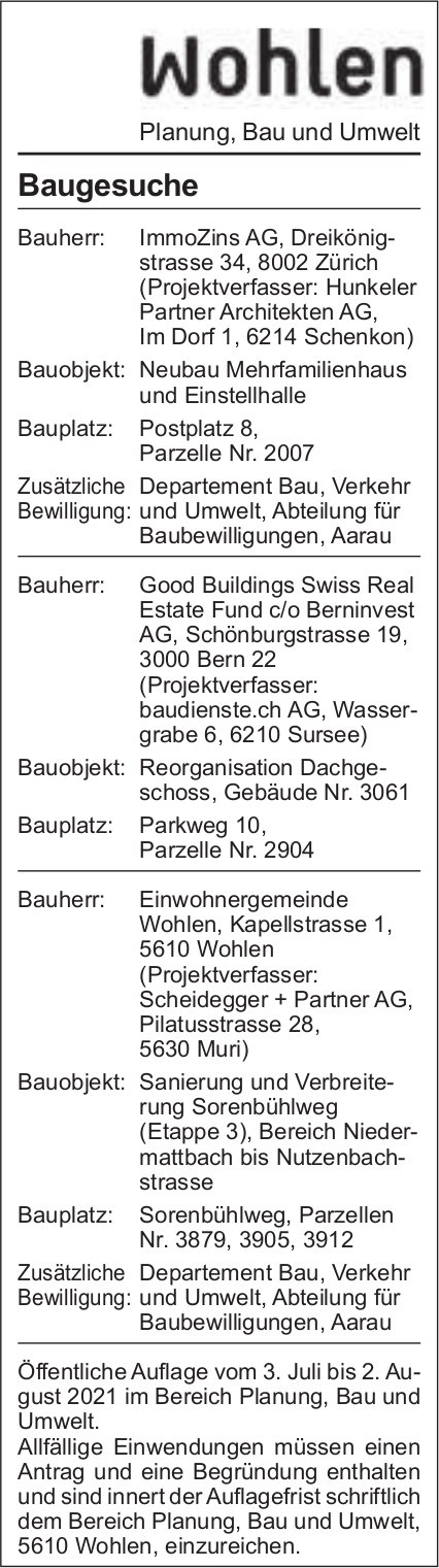 Baugesuche, Wohlen - ImmoZins AG, Baugesuche