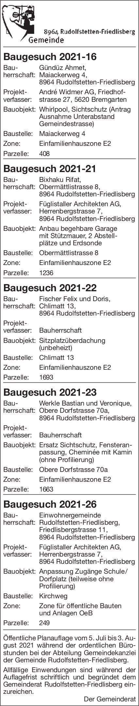 Baugesuche, Rudolfstetten-Friedlisberg - André Widmer AG, Baugesuch 2021-16 Baugesuch 2021-21