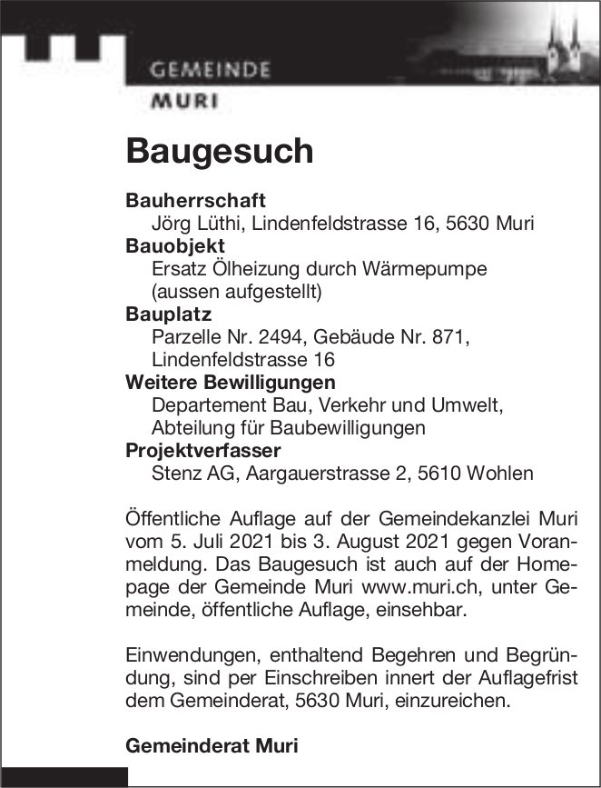 Baugesuche, Muri - Jörg Lüthi