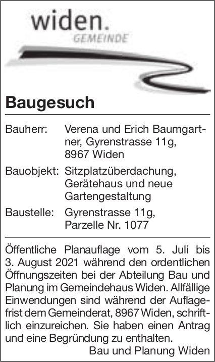 Baugesuche, Widen - Verena und Erich Baumgartner, Baugesuch