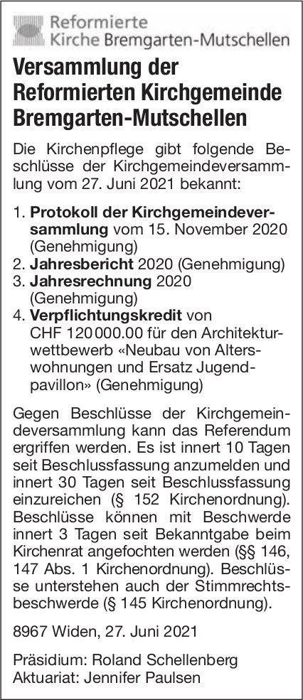 Bremgarten-Mutschellen - Beschlüsse der Versammlung der Reformierten Kirchgemeinde