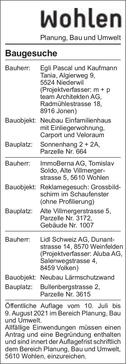 Baugesuche, Wohlen - team Architekten AG, Baugesuche