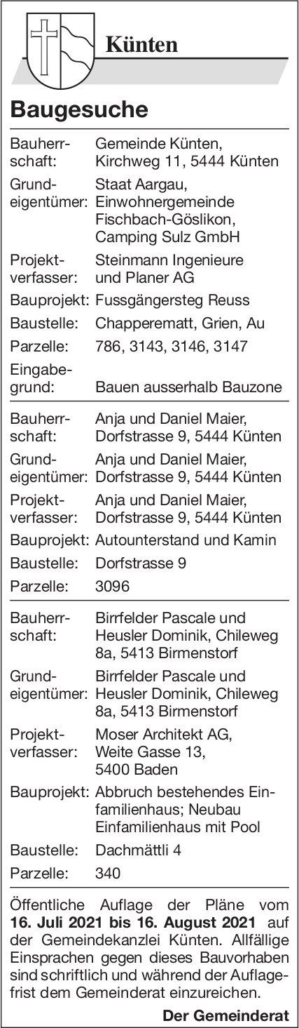 Baugesuche, Künten - Gemeinde, Baugesuche