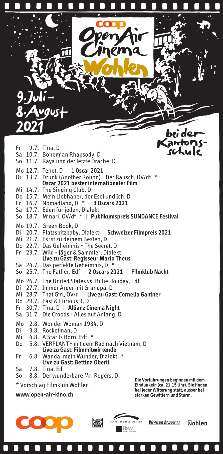 OpenAir Cinéma, 9. Juli bis 8. August, bei der Kantonsschule