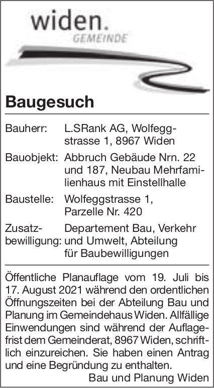 Baugesuche, Widen - L. S Rank AG, Baugesuch