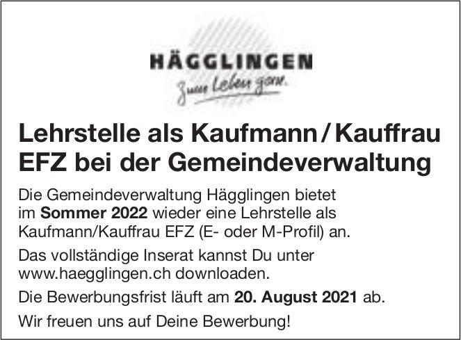 Lehrstelle als Kaufmann / Kauffrau EFZ, Gemeinde, Hägglingen, zu vergeben