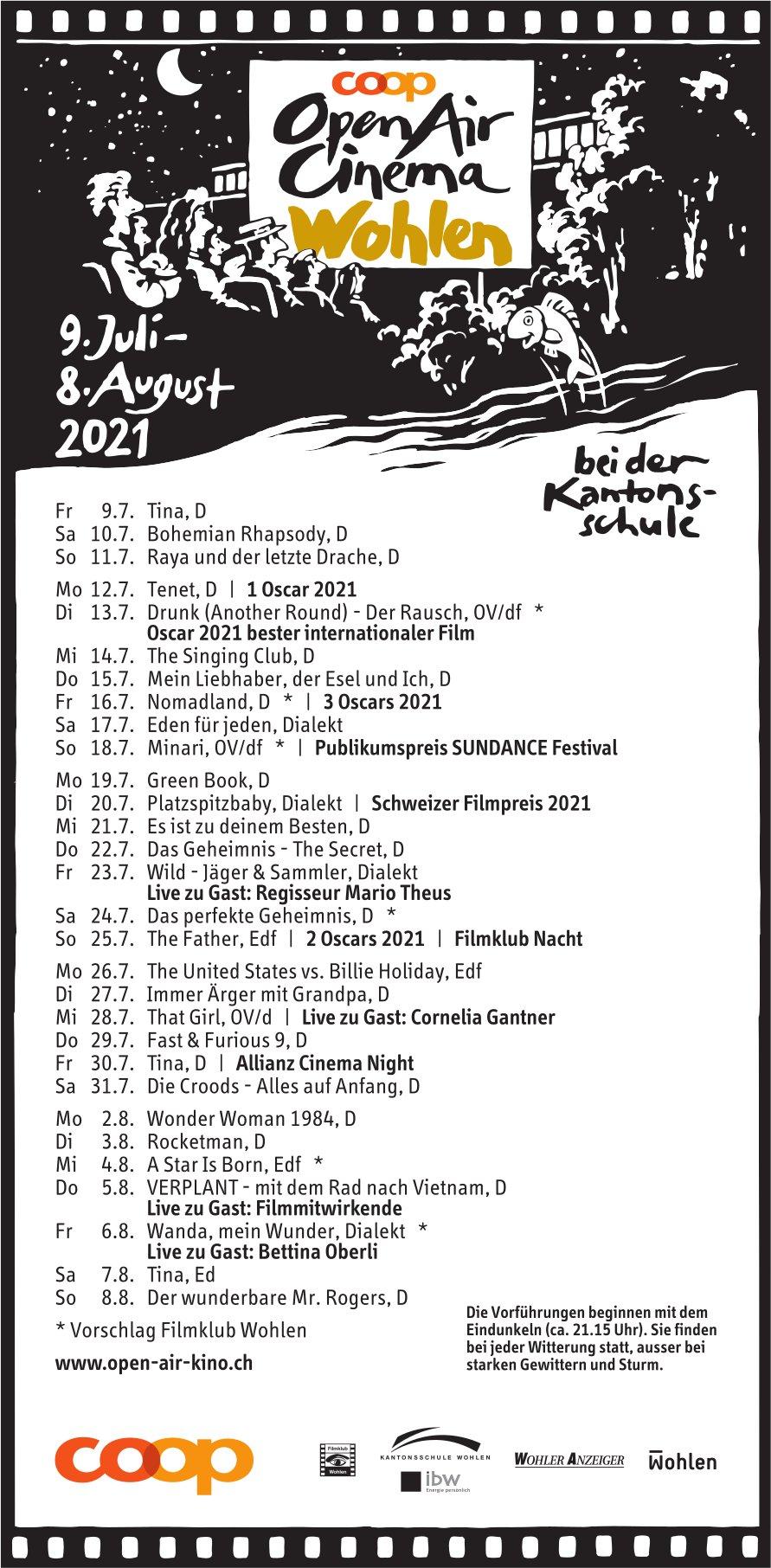 Open Air Kino, 9. Juli bis 8. August, Wohlen