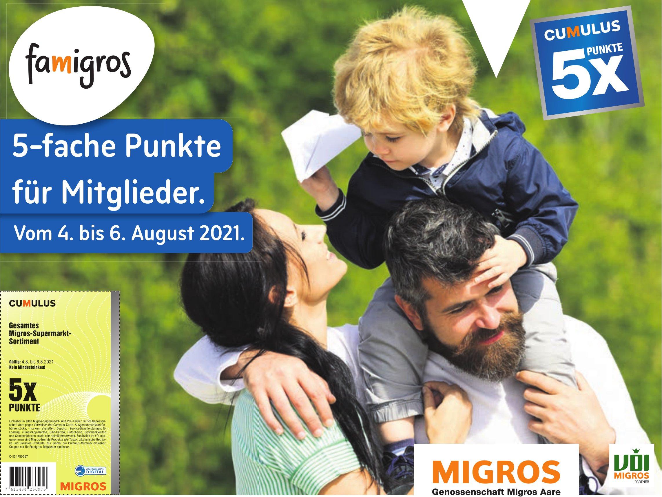 Genossenschaft Migros Aare - 5-fache Punkte für Mitglieder.