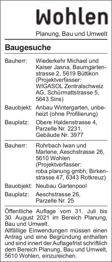 Baugesuche, Wohlen - Wiederkehr Michael und Kaiser Jasna
