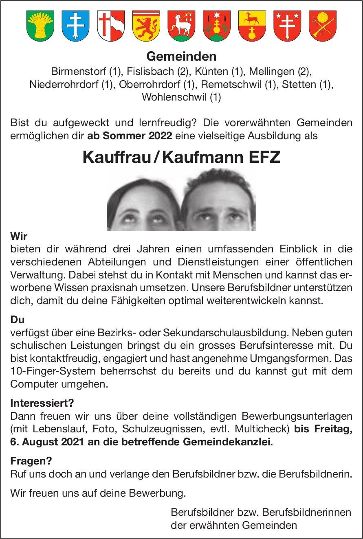 Lehrstelle als Kauffrau / Kaufmann EFZ, Verschiedene Gemeinden im Aargau, zu vergeben