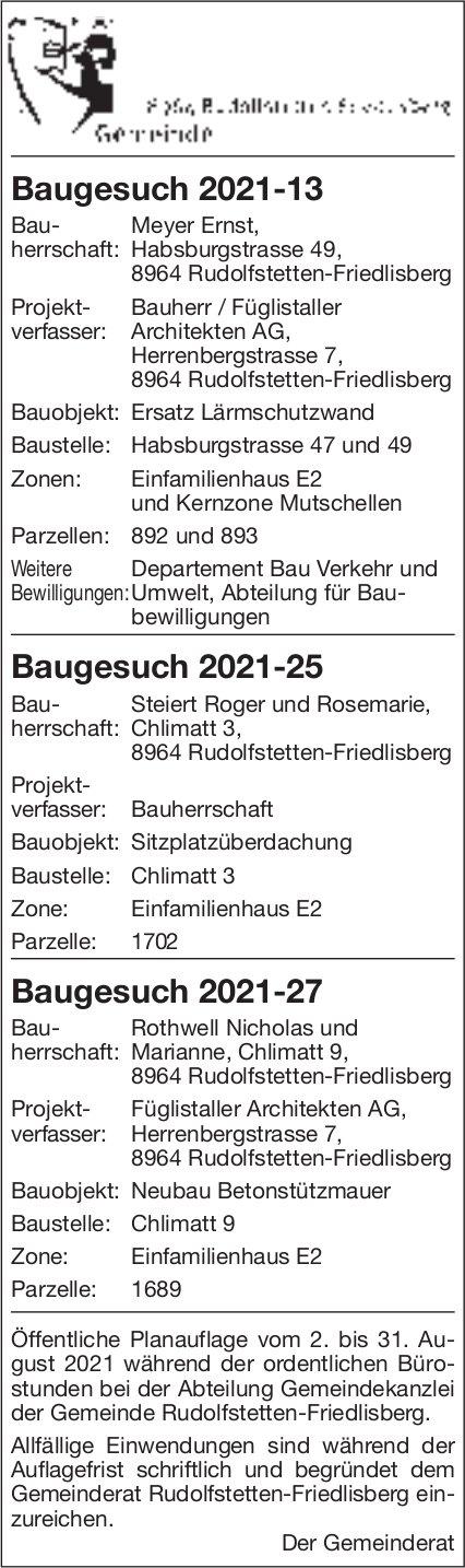 Baugesuche, Rudolfstetten - Baugesuch 2021-13