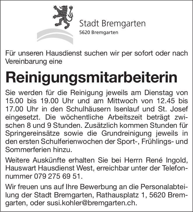 Reinigungsmitarbeiterin, Stadt, Bremgarten, gesucht