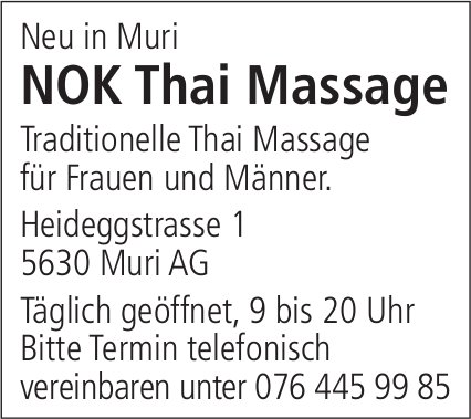 NOK Thai Massage neu in Muri