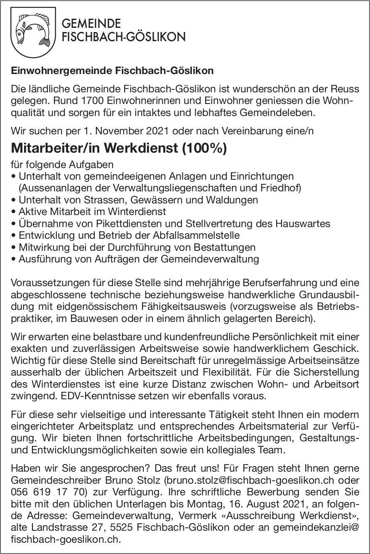 Mitarbeiter/in Werkdienst (100%), Einwohnergemeinde Fischbach-Göslikon, gesucht