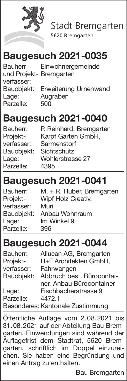 Baugesuche, Bremgarten - Baugesuch 2021-0035