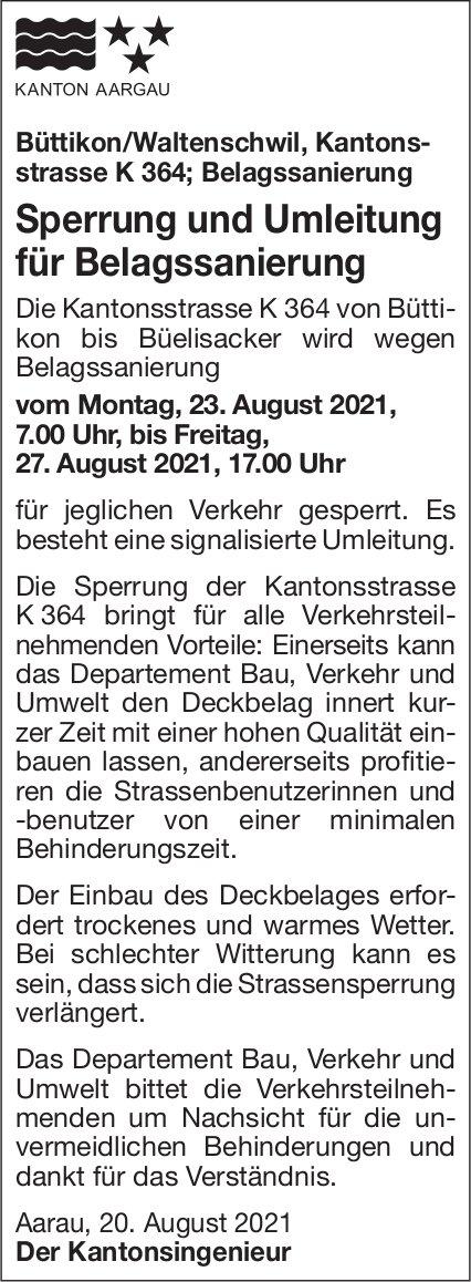 Kanton Aargau - Sperrung und Umleitung für Belagssanierung